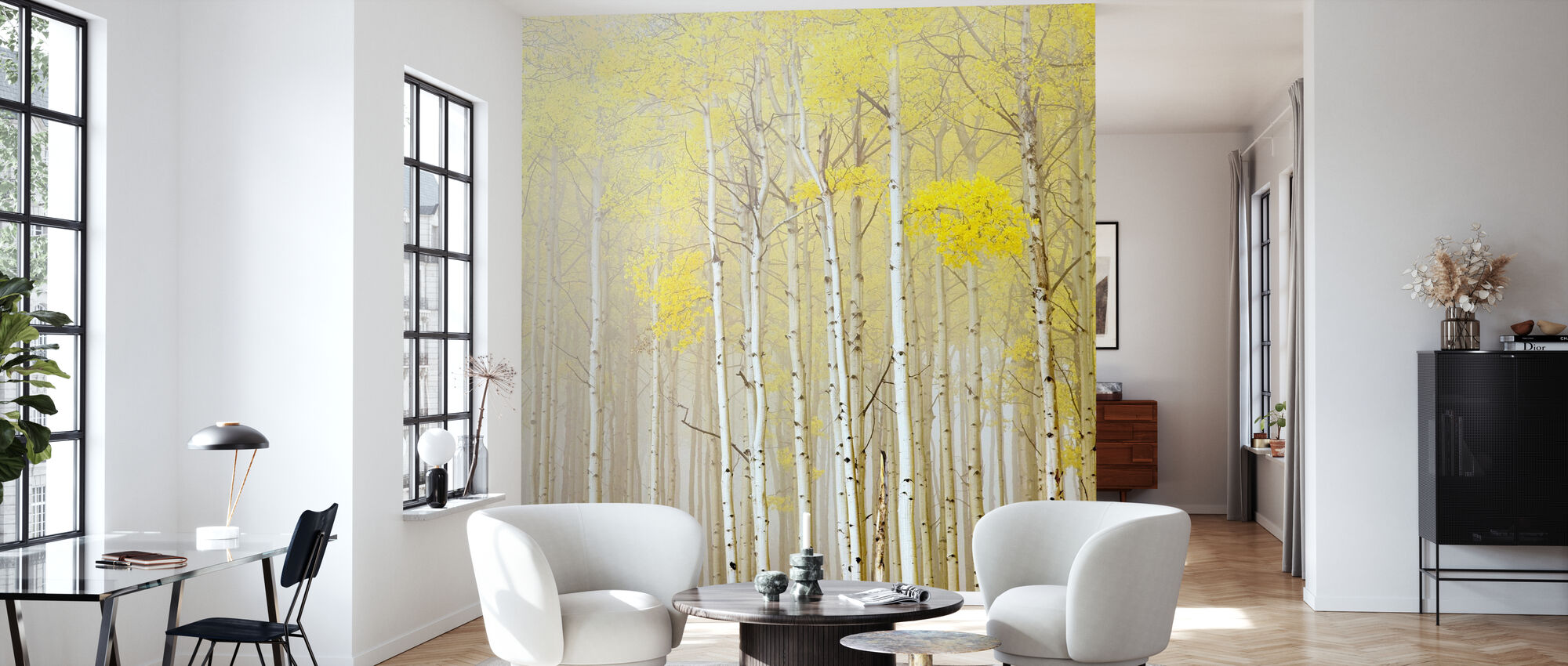 Aspens in Fog - Wallpaper - Living Room