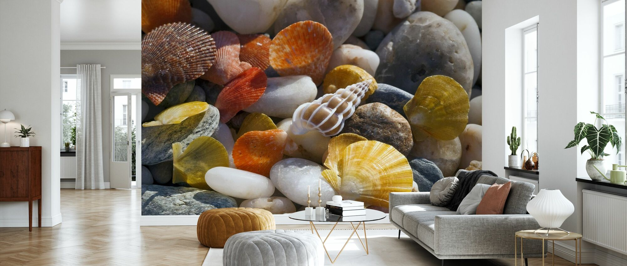 Colorful Seashells and Pebbles - Wallpaper - Living Room