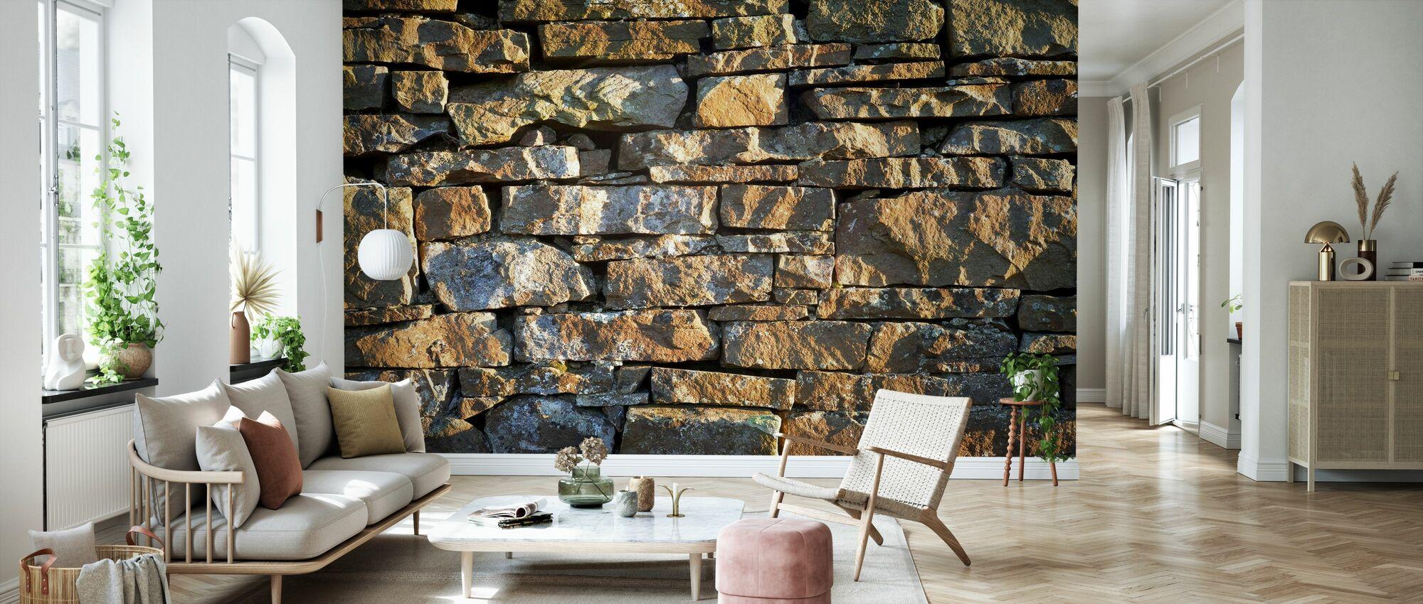Håndlaget steinmur - Tapet - Stue