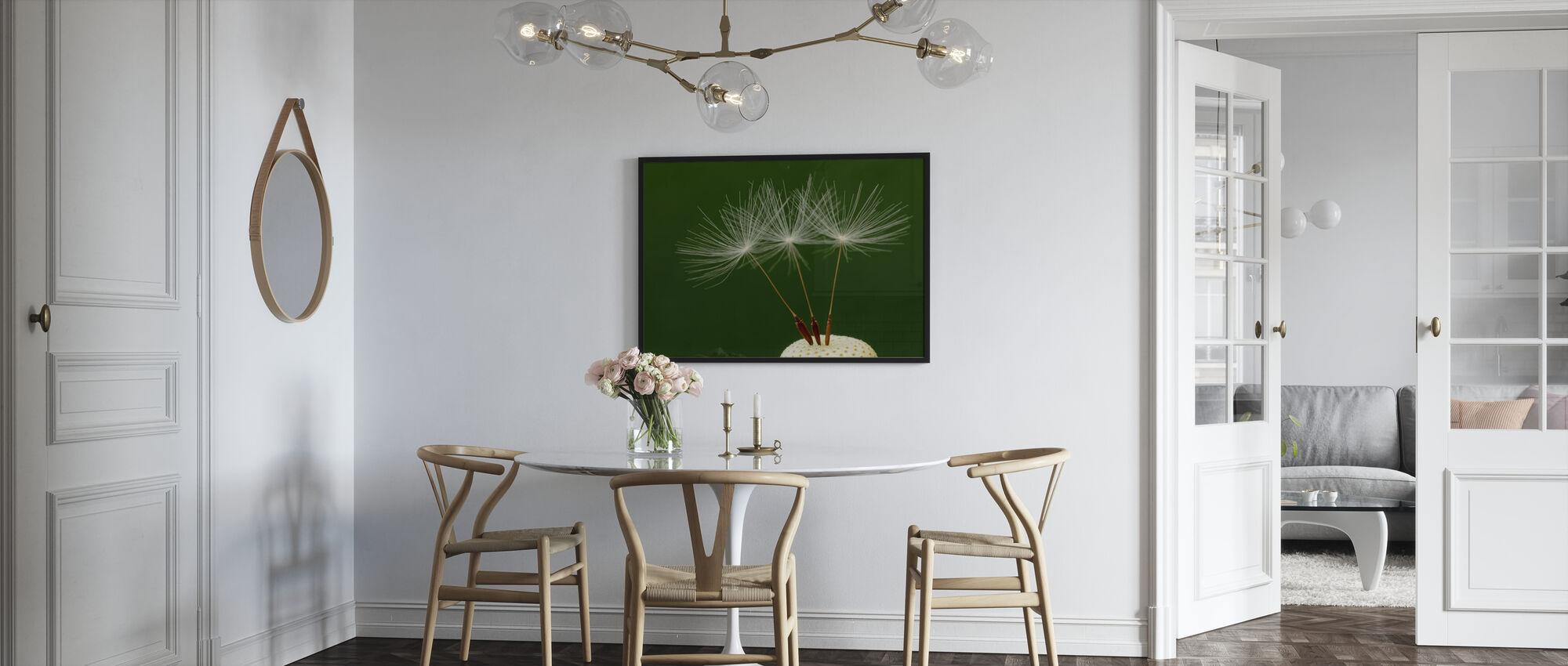 Three Dandelion Seeds - Framed print - Kitchen