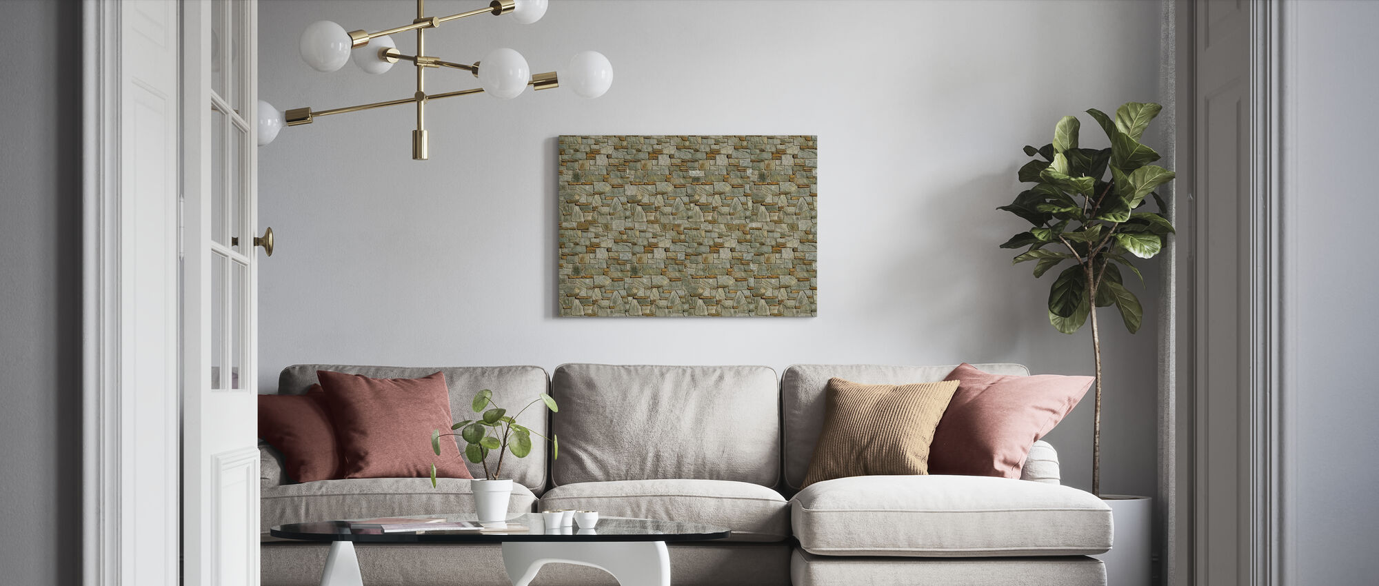 Decorative Stone Wall - Canvas print - Living Room