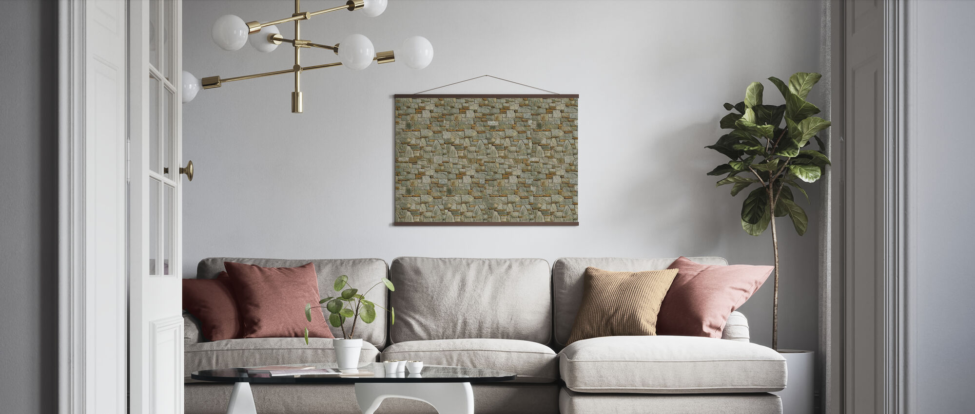 Decorative Stone Wall - Poster - Living Room