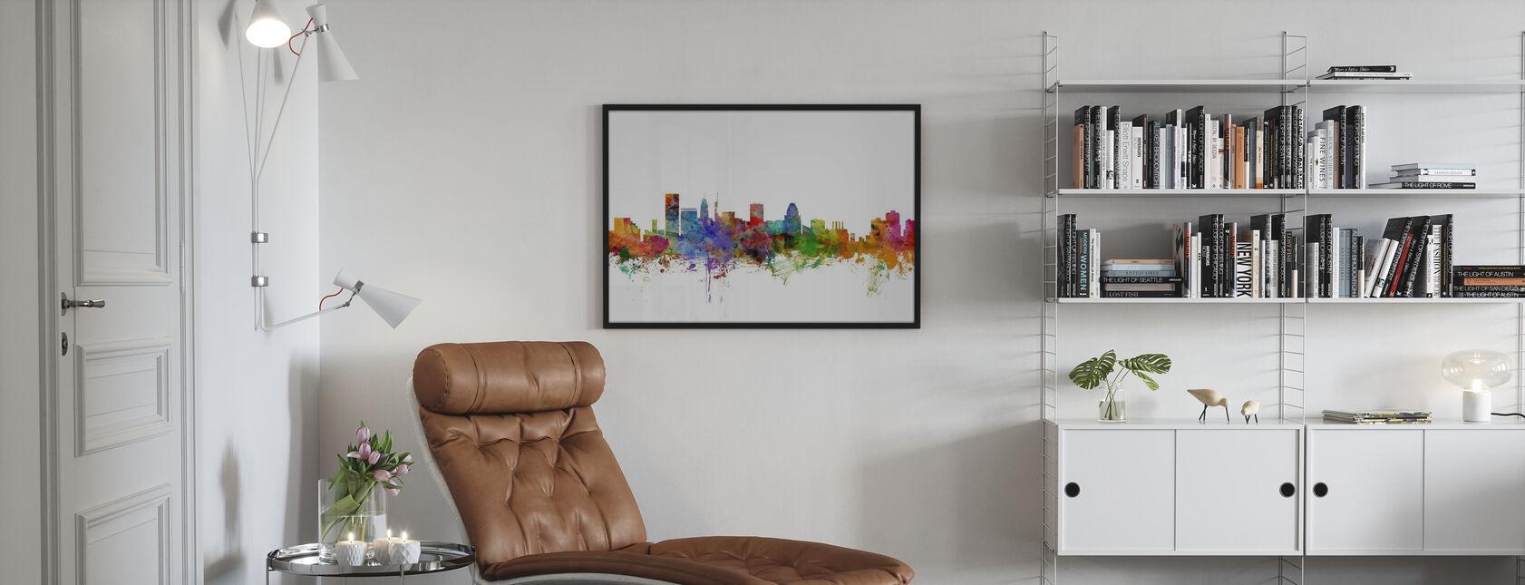 Baltimore Maryland Skyline - Poster - Woonkamer