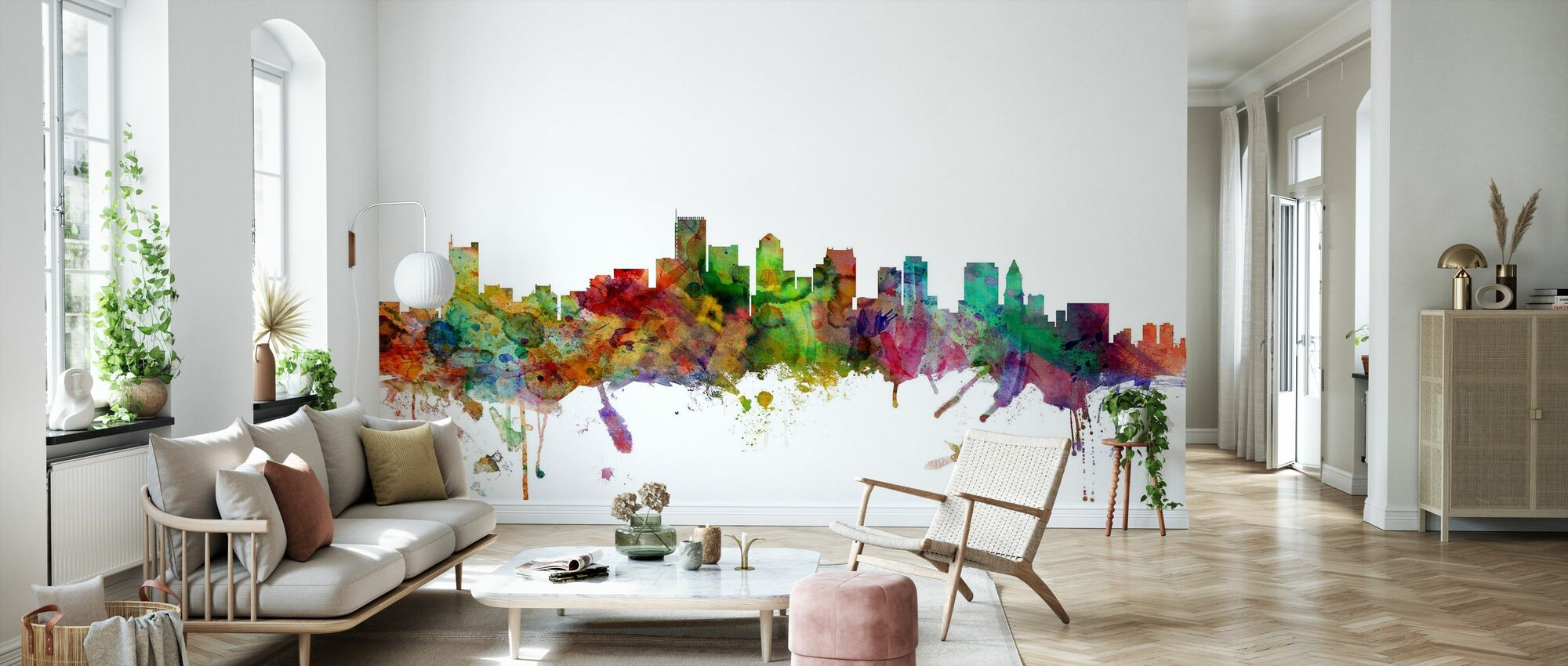 Boston Massachusetts Skyline - Behang - Woonkamer
