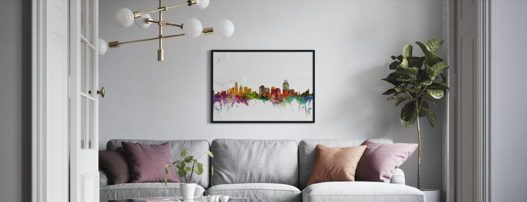 Skyline van Cincinnati Ohio - Ingelijste print - Woonkamer