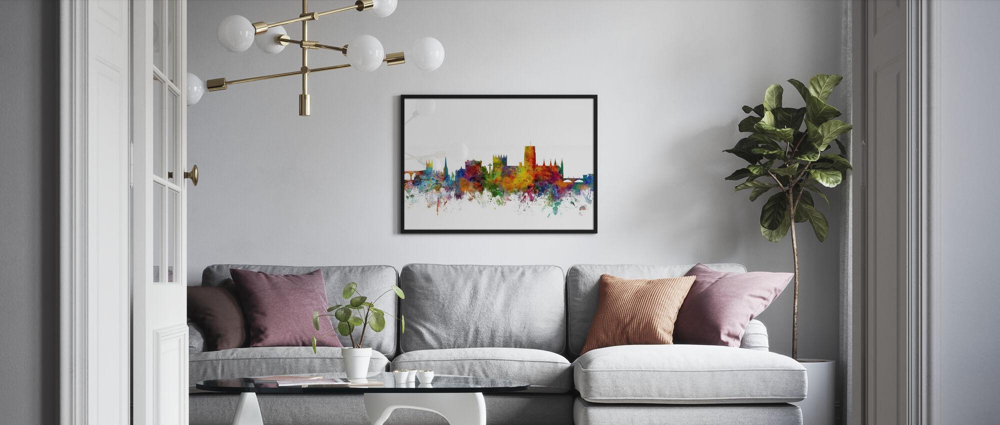 Durham England Skyline Cityscape Popular Framed Print Photowall