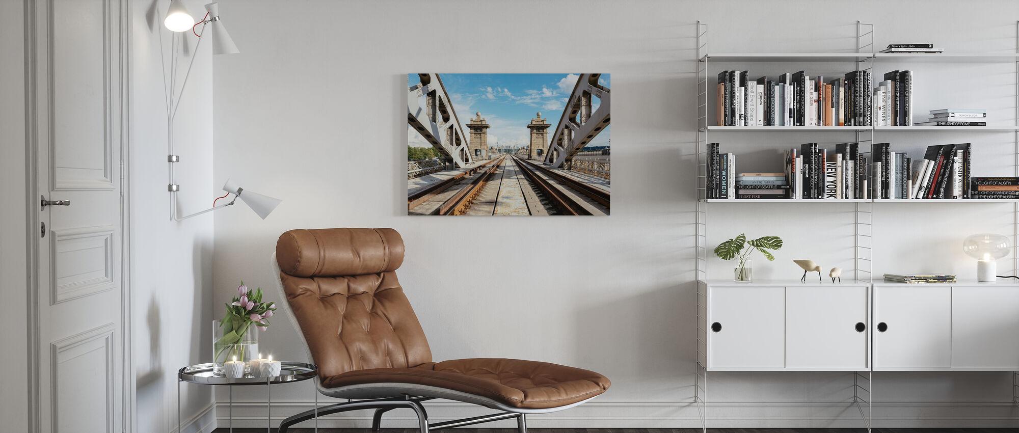 Railroad Bridge in Moscow - Canvas print - Living Room
