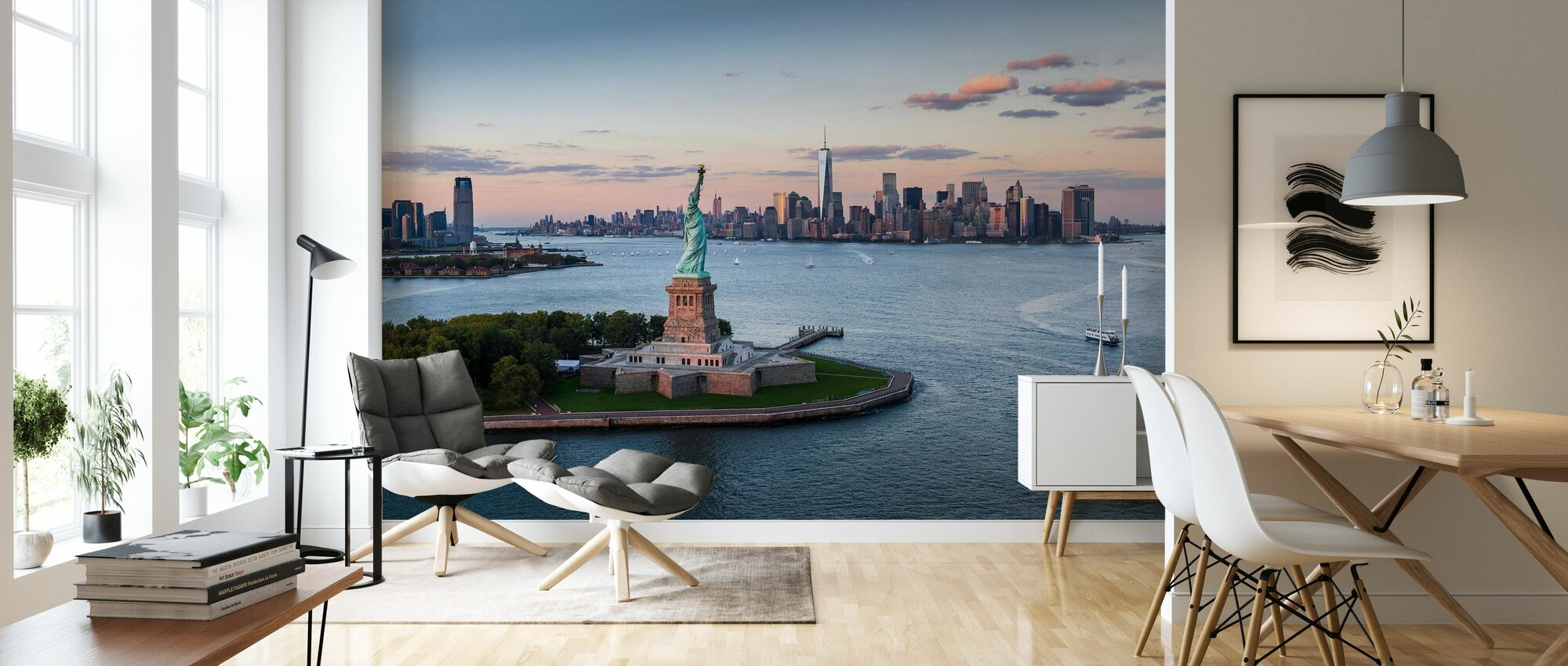 Aerial View of Statue of Liberty - Wallpaper - Living Room