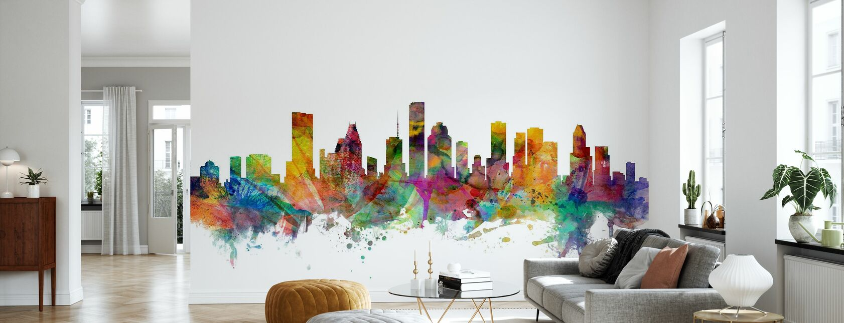 Houston Texas Skyline - Wallpaper - Living Room