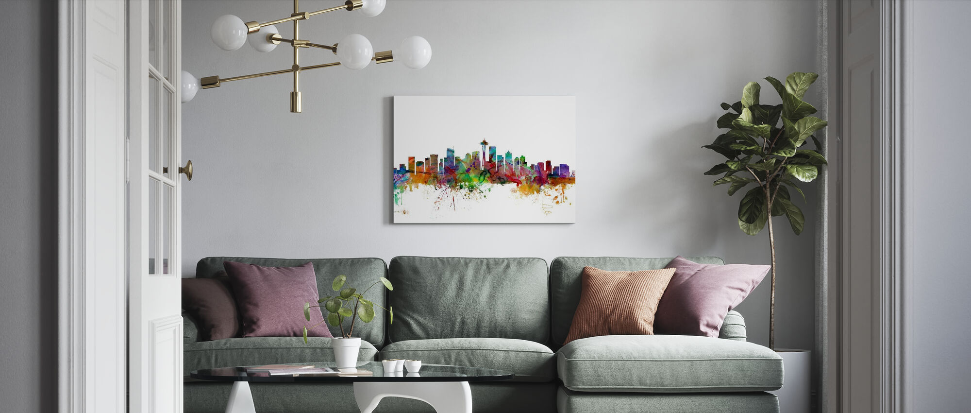 Seattle Washington Skyline - Canvas print - Living Room