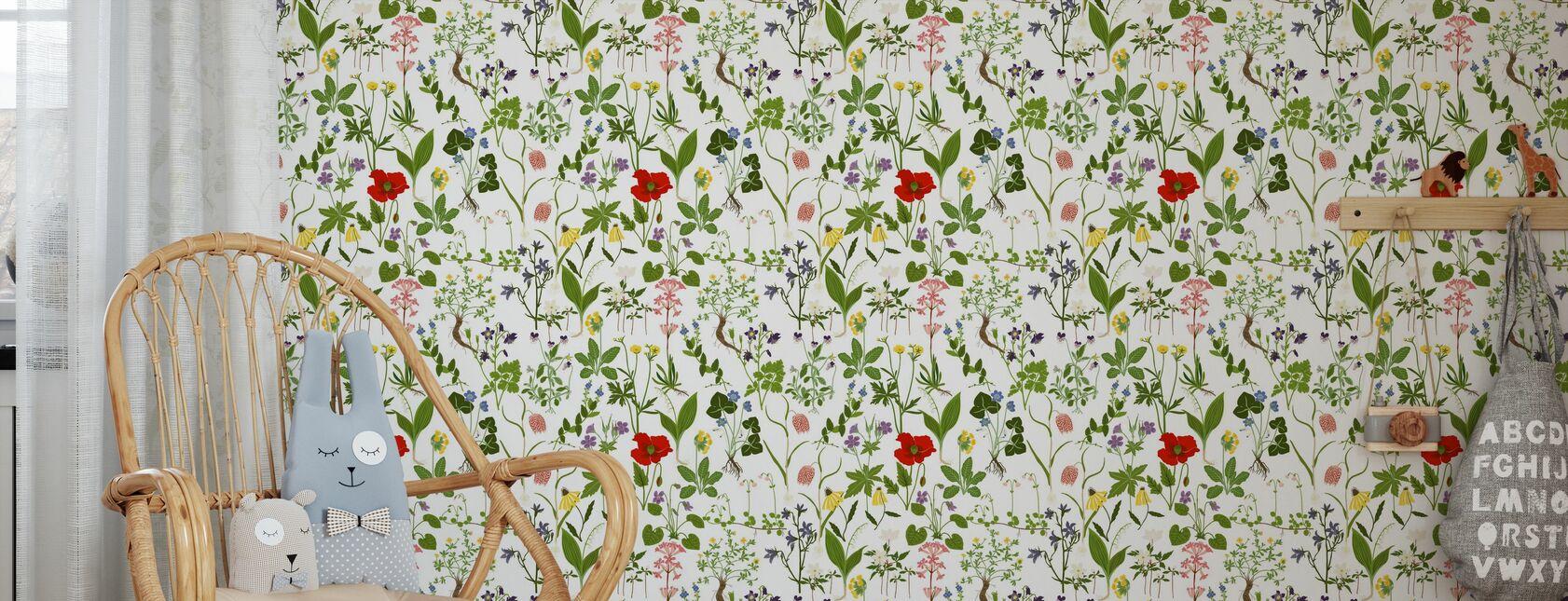 Flourish - White - Wallpaper - Kids Room