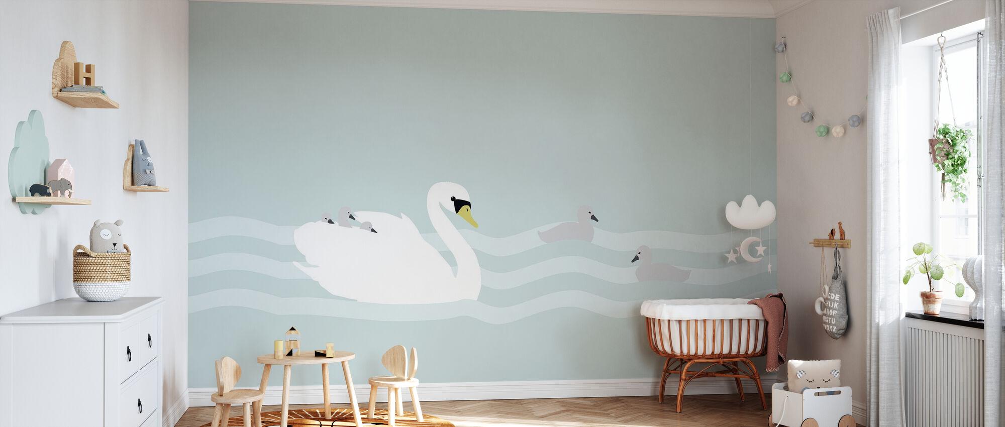 Swan mom and bebe - Jade - Wallpaper - Nursery