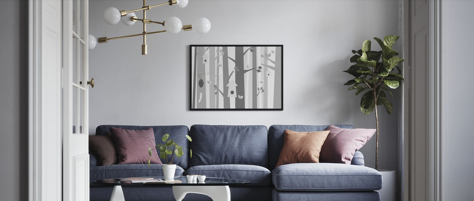 Bird Forest - Grey - Poster - Living Room