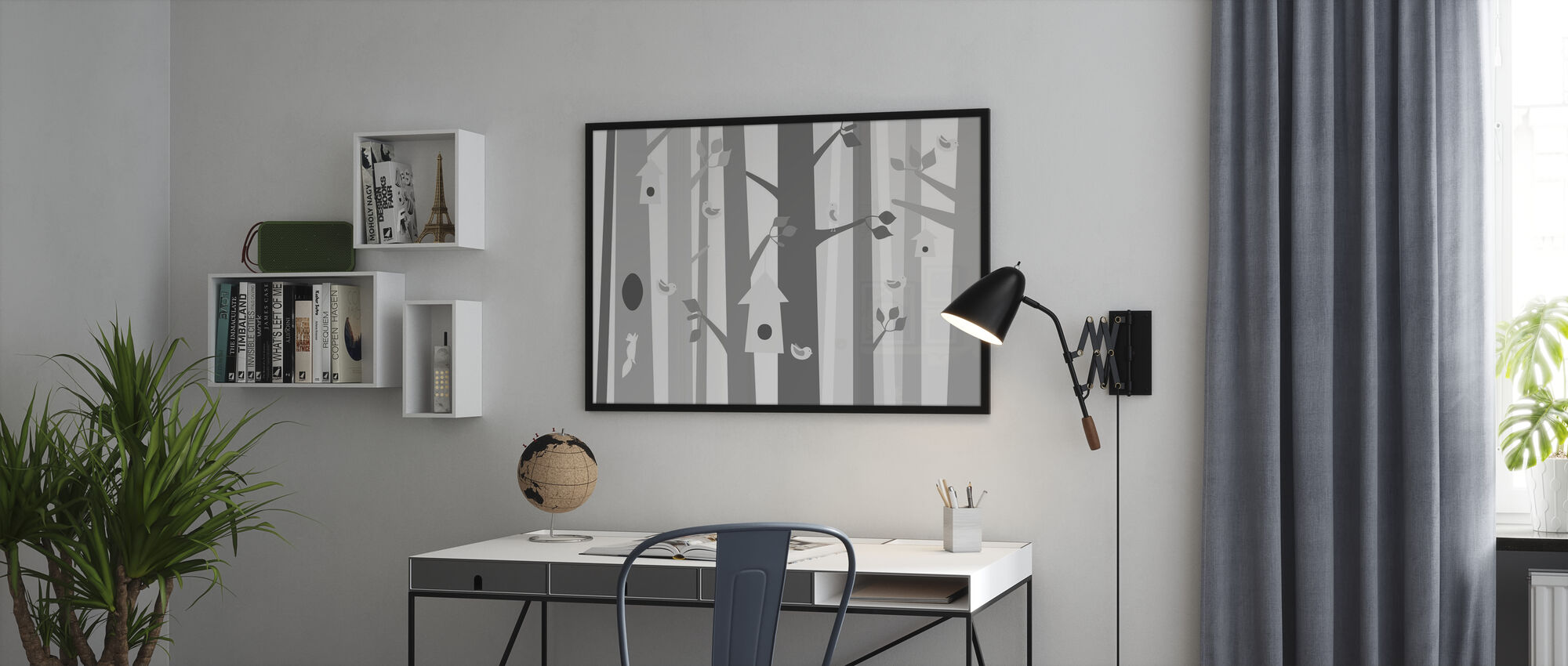 Bird Forest - Grey - Framed print - Office