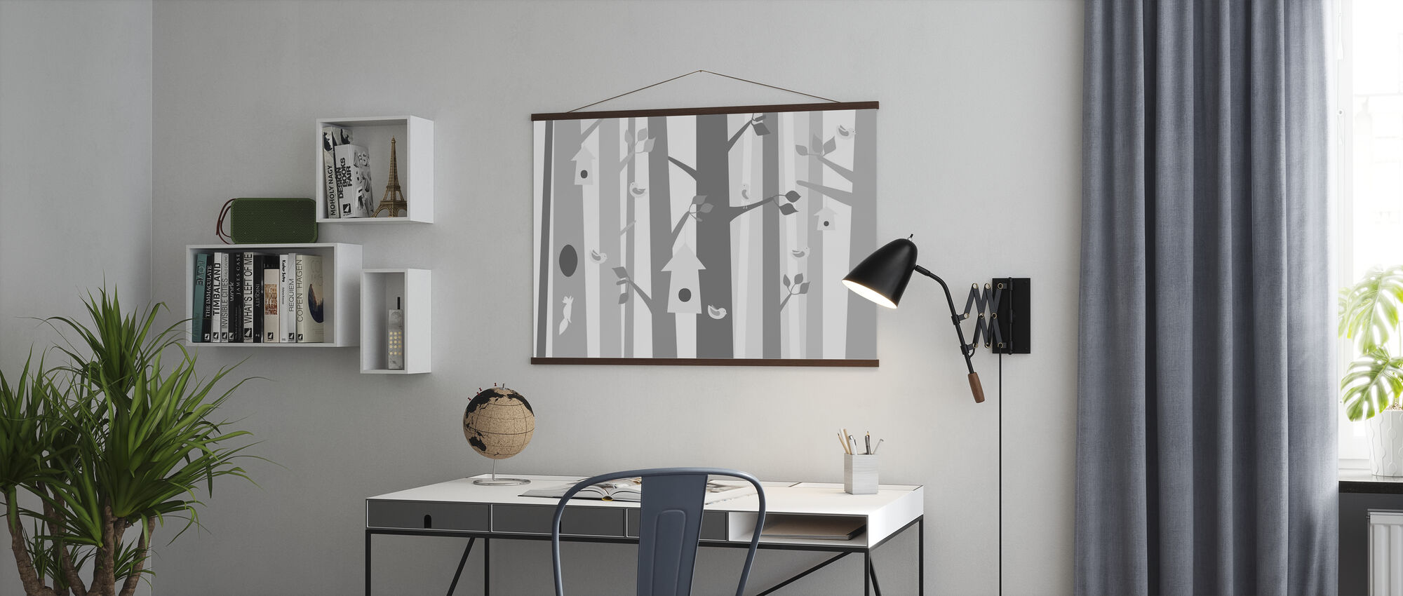 Vogelwald - Grau - Poster - Büro