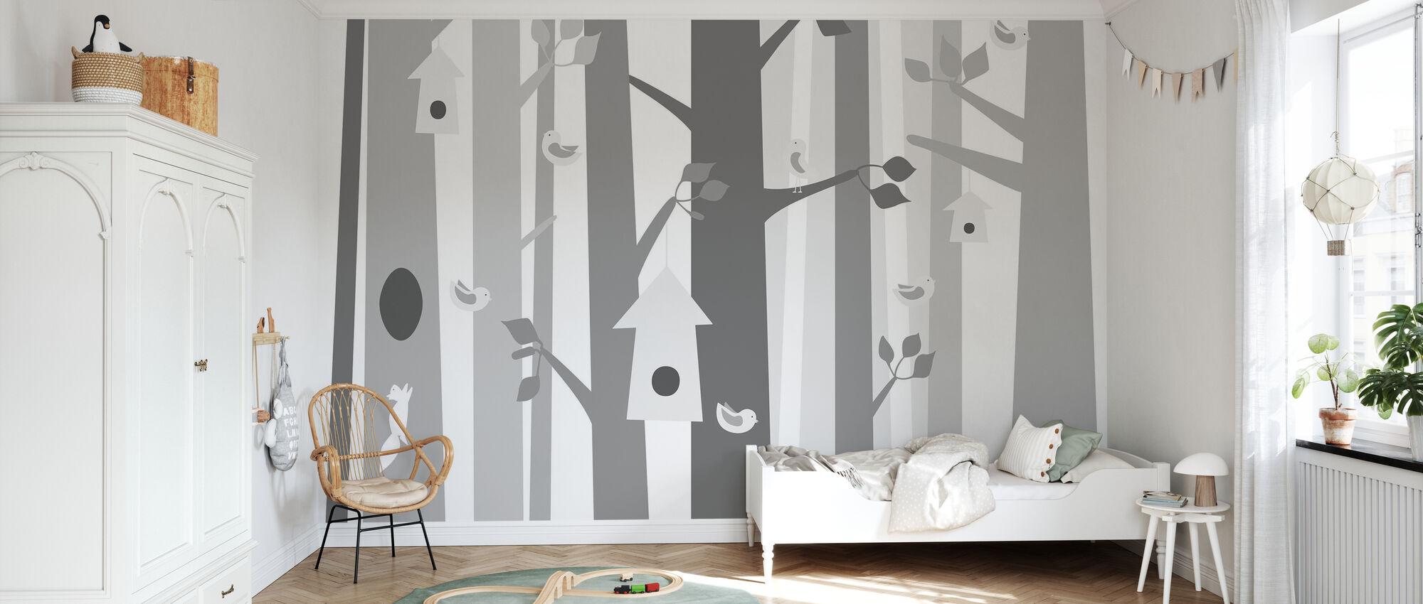 Bird Forest - Grey - Wallpaper - Kids Room