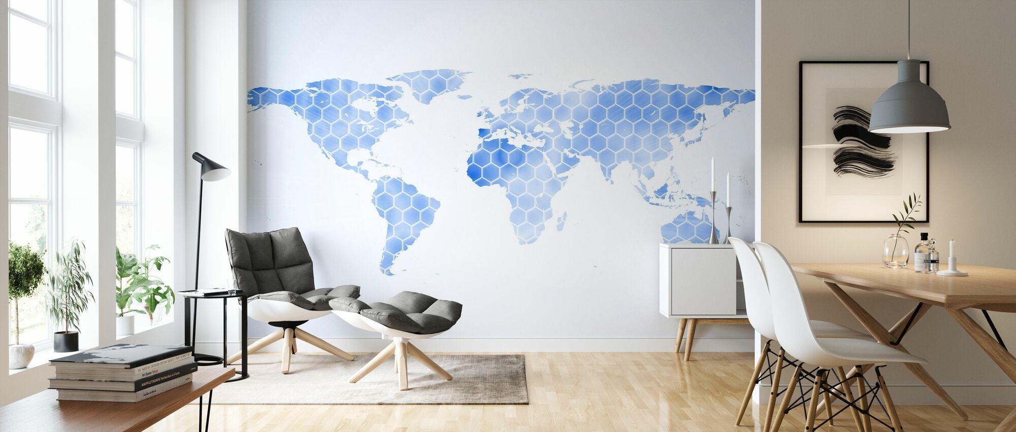 Blue Hexagon Weltkarte - Tapete - Wohnzimmer