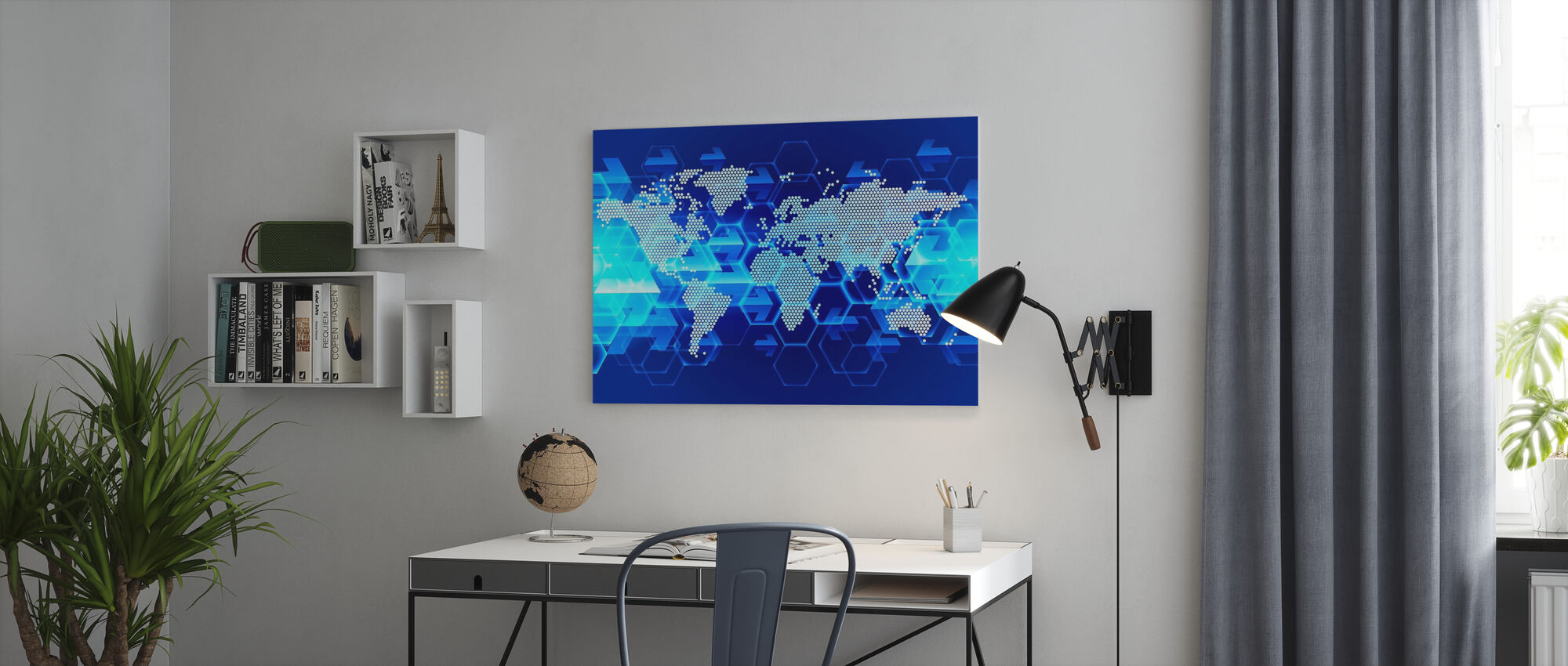 Blue Light wereldkaart - Canvas print - Kantoor