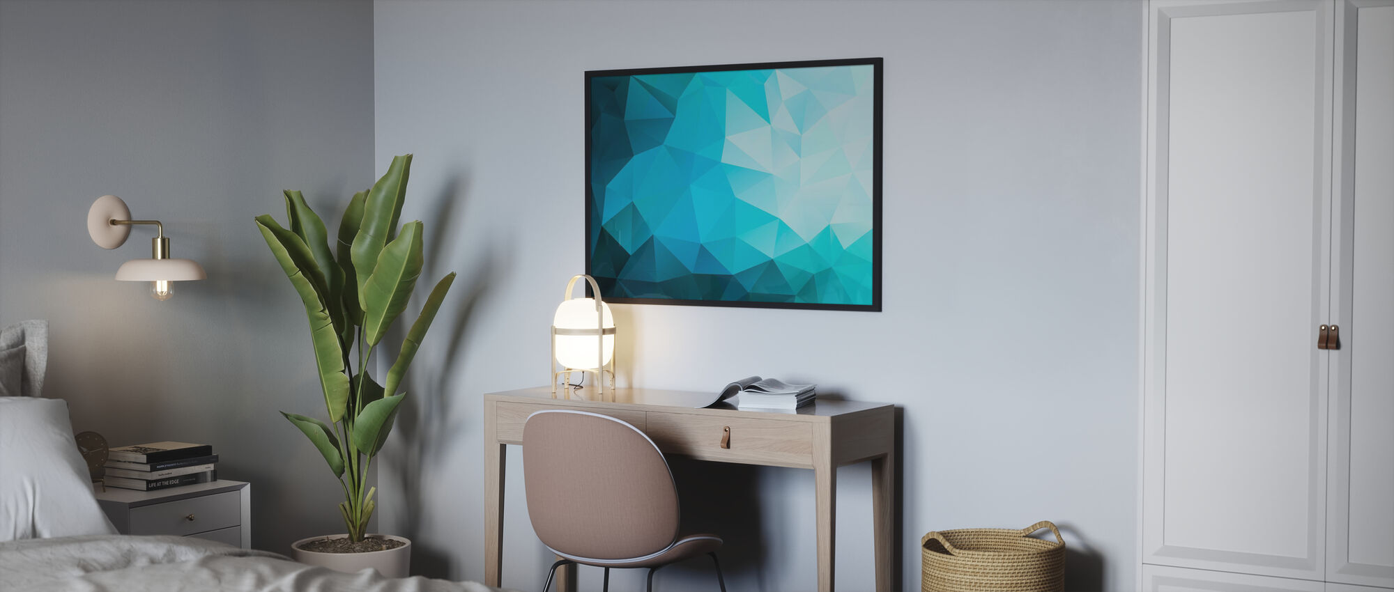 Blue Polygonal - Poster - Bedroom