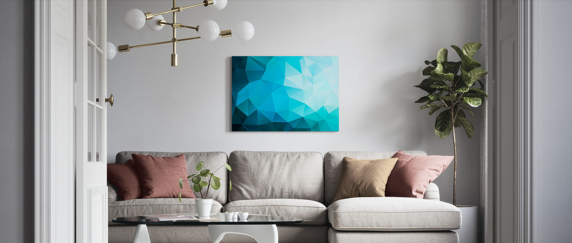 Blue Polygonal - Canvas print - Living Room