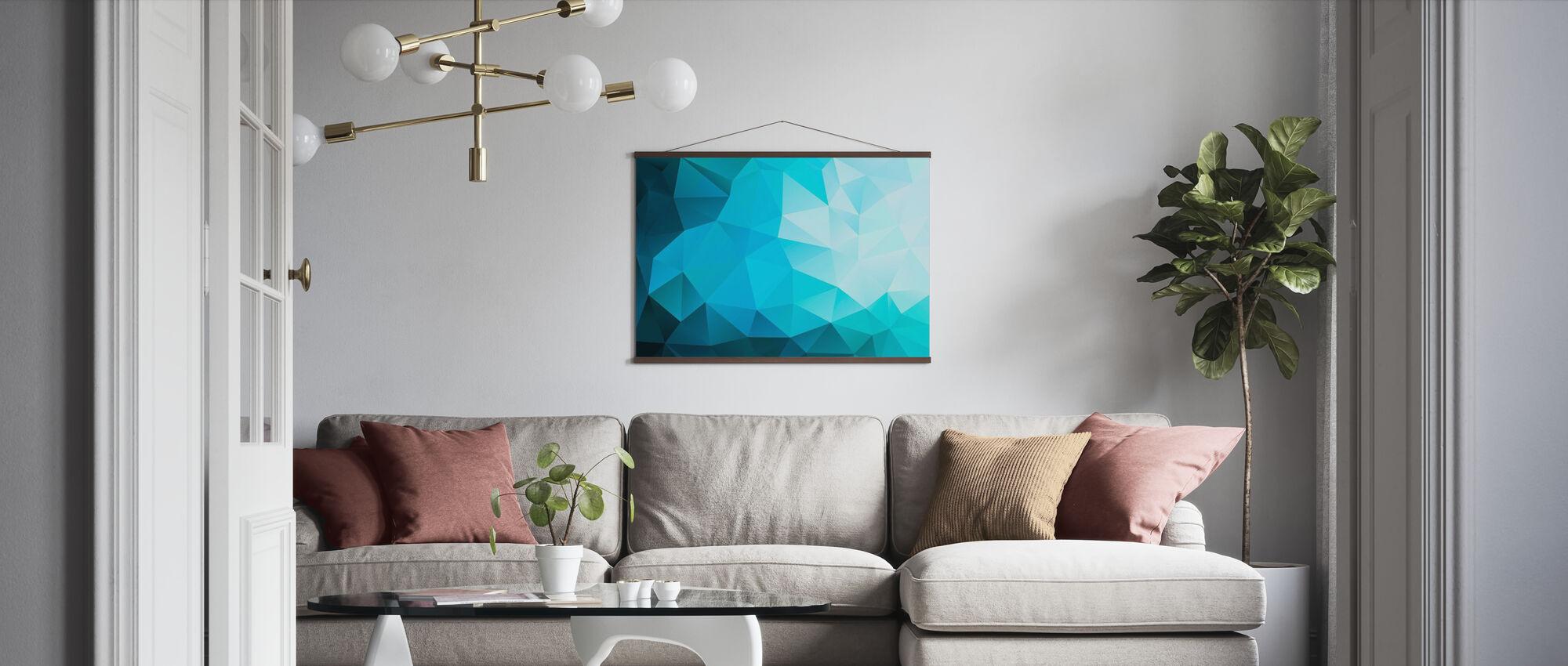 Blauwe veelhoekige - Poster - Woonkamer
