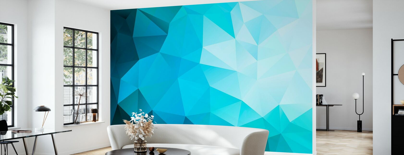 Blue Polygonal - Wallpaper - Living Room