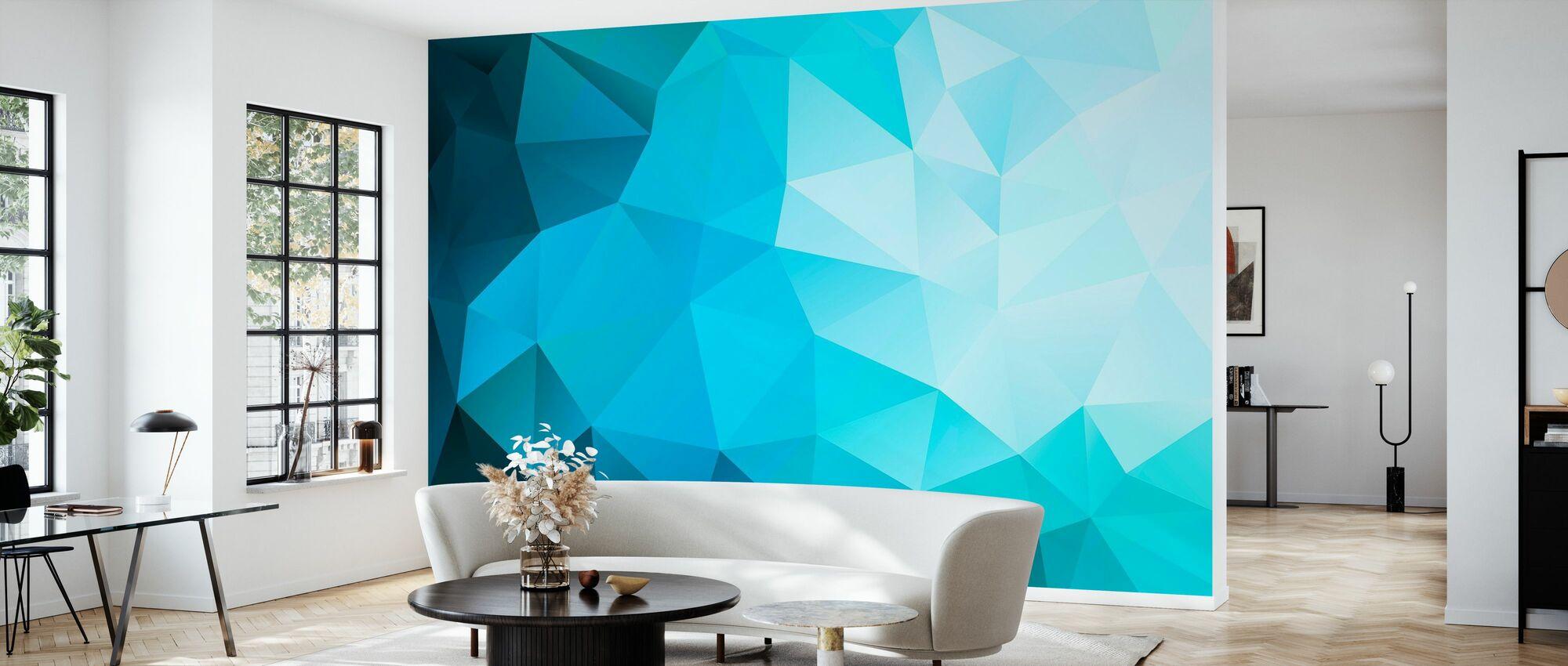 Poligonal azul - Papel pintado - Salón