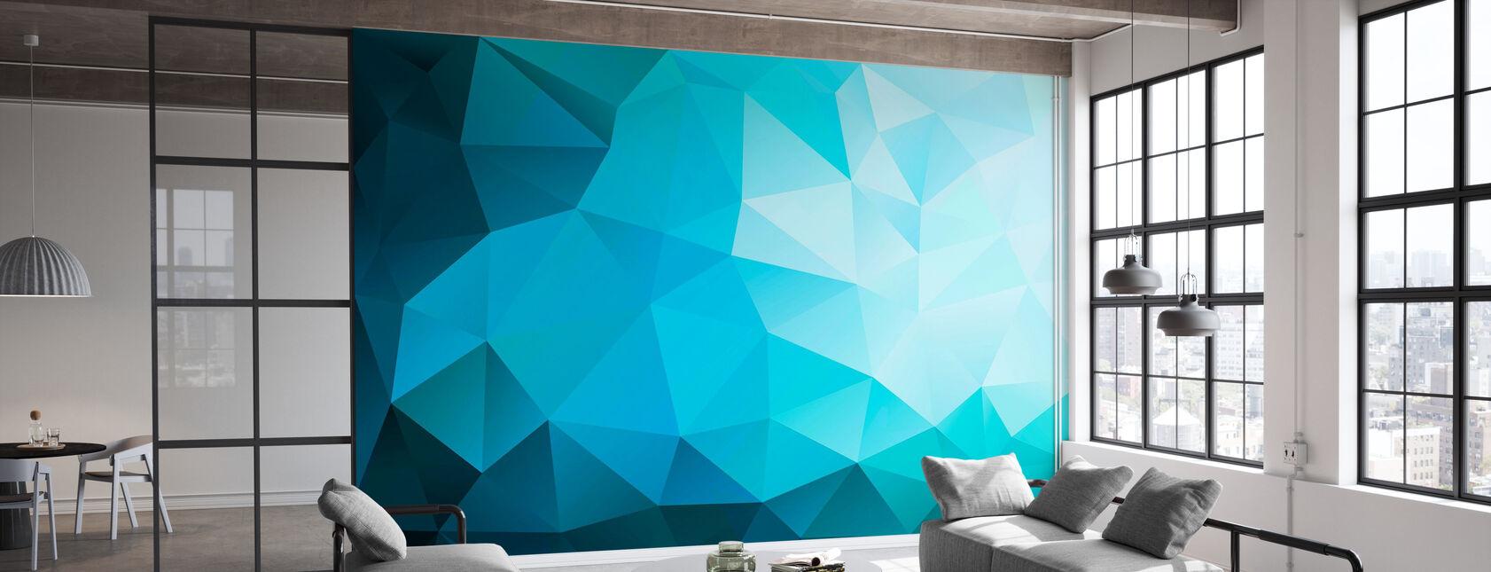 Blue Polygonal - Wallpaper - Office