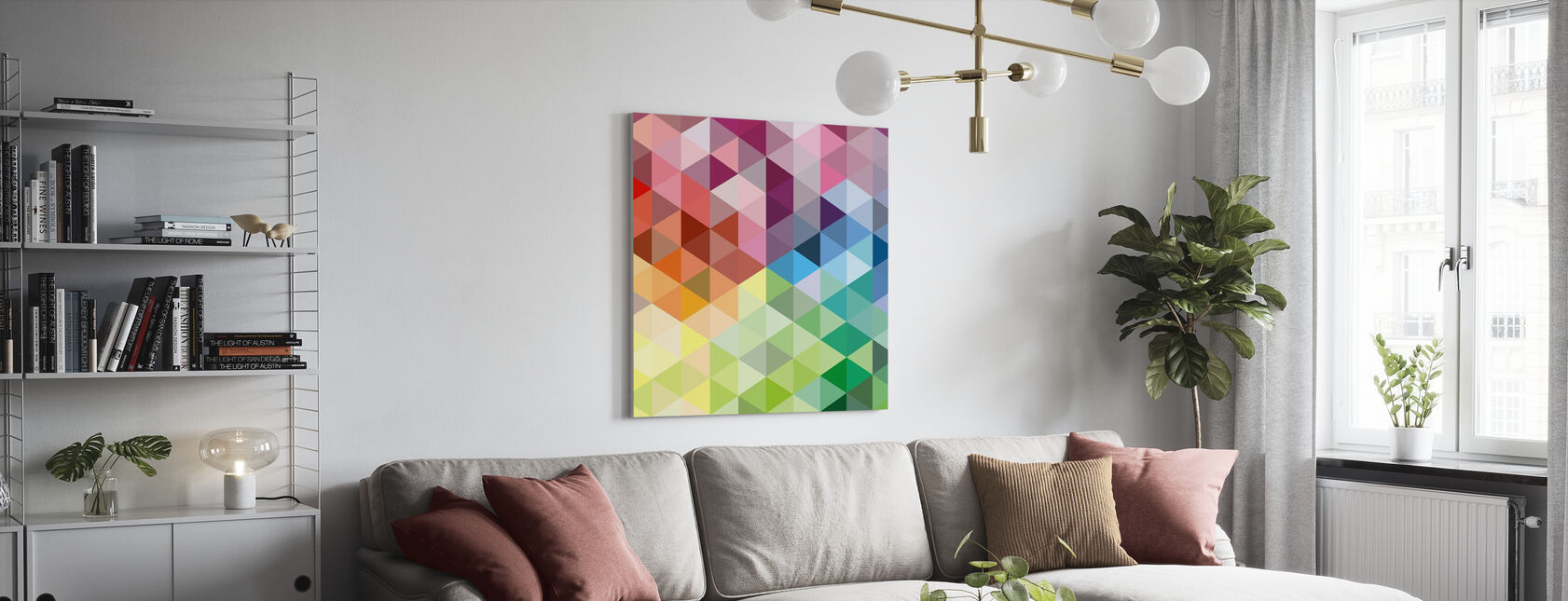 Colorful Triangles - Canvas print - Living Room
