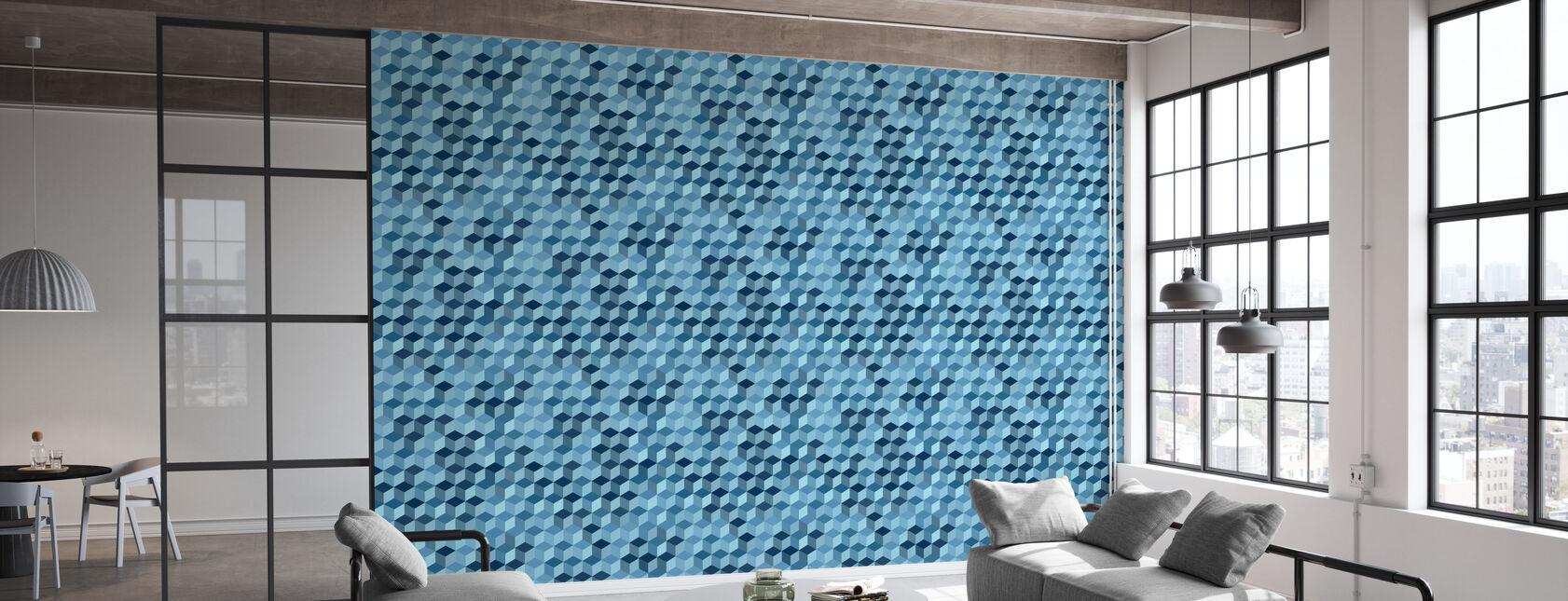 Cube Hexagon Muster - Stahl - Tapete - Büro