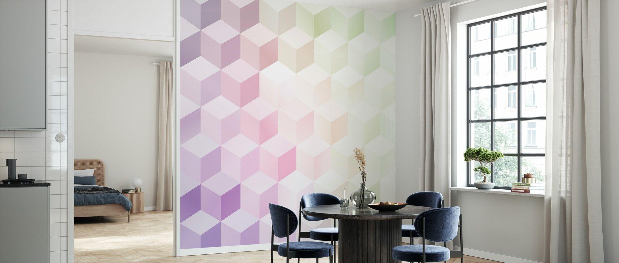 Cubes in Frosty Pastel - Wallpaper - Kitchen
