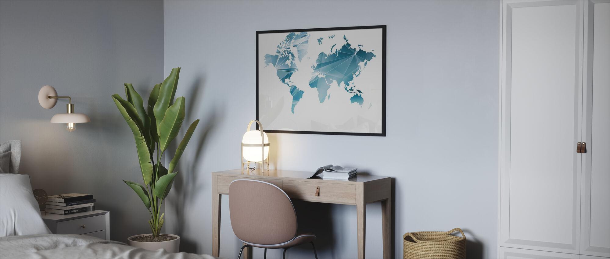 Geometrinen konsepti maailmankartta - Juliste - Makuuhuone