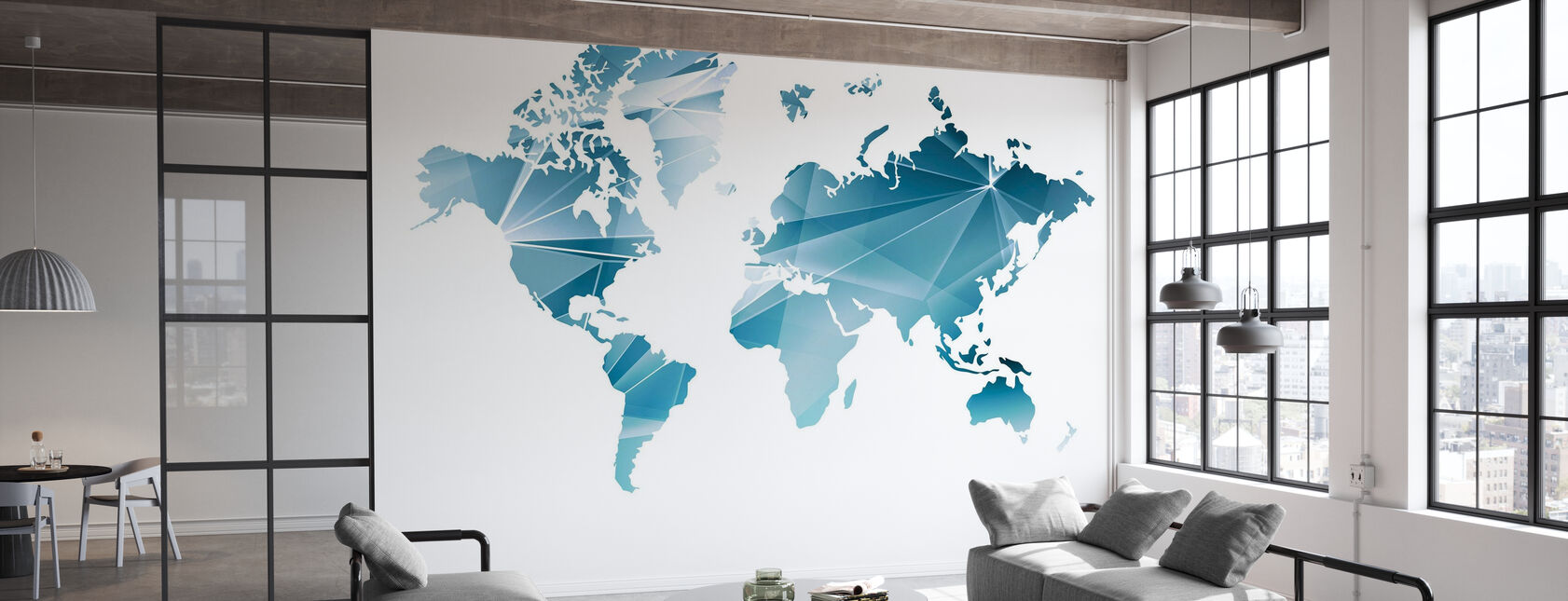 Mappa del mondo del concetto geometrico - Carta da parati - Uffici