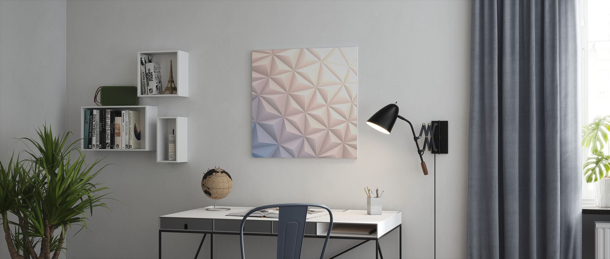 Geometric White - Canvas print - Office