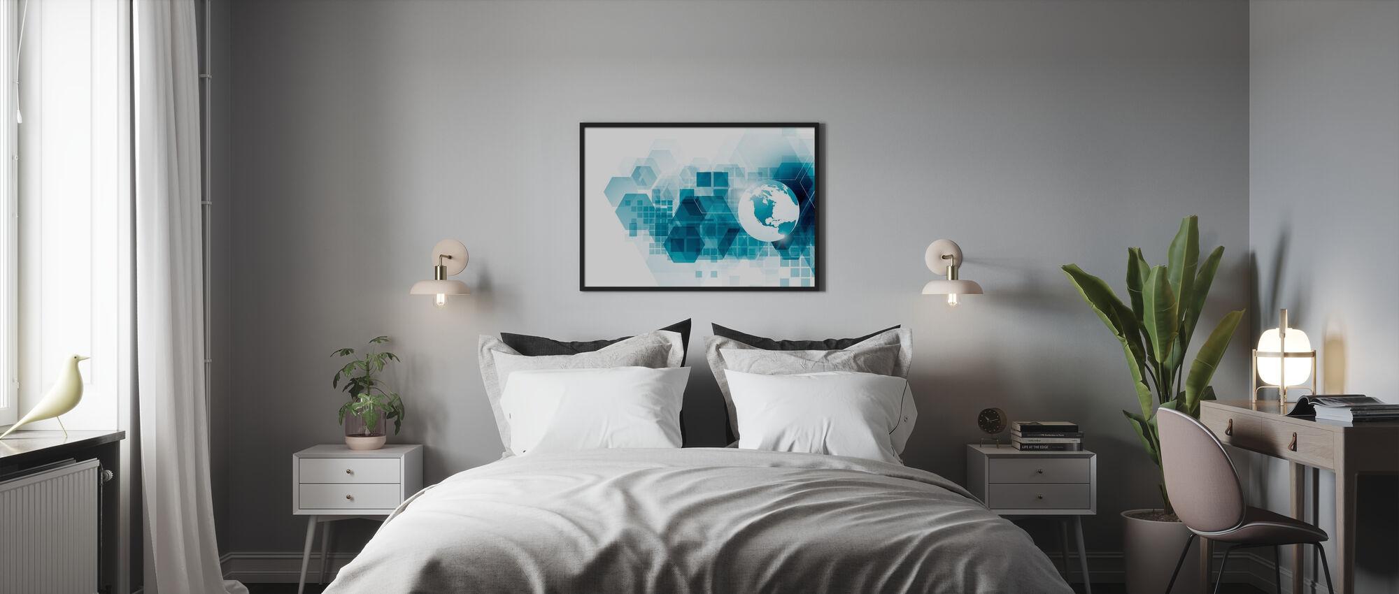 Maapallo geometrisella taustalla - Kehystetty kuva - Makuuhuone
