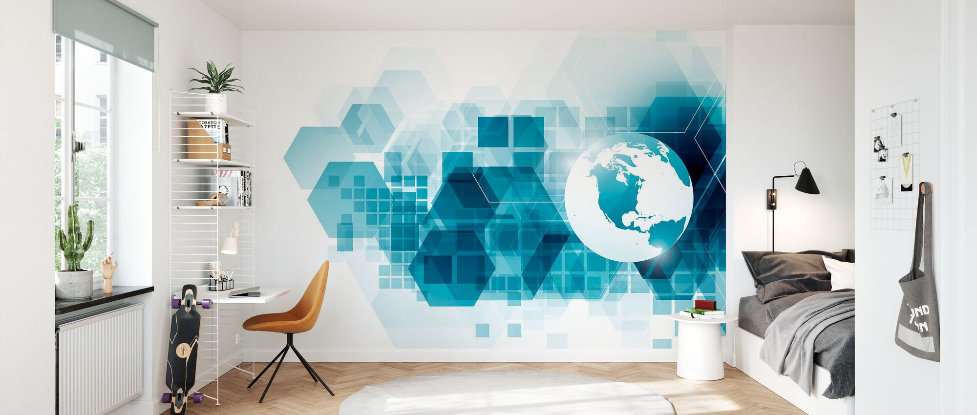 Globe with Geometric Background - Wallpaper - Kids Room