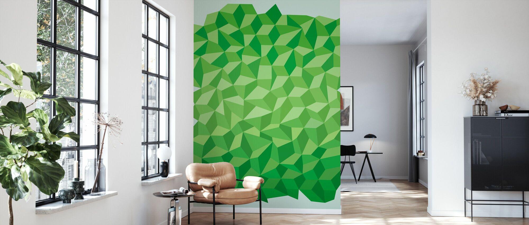 Green Polygon Background - Wallpaper - Living Room