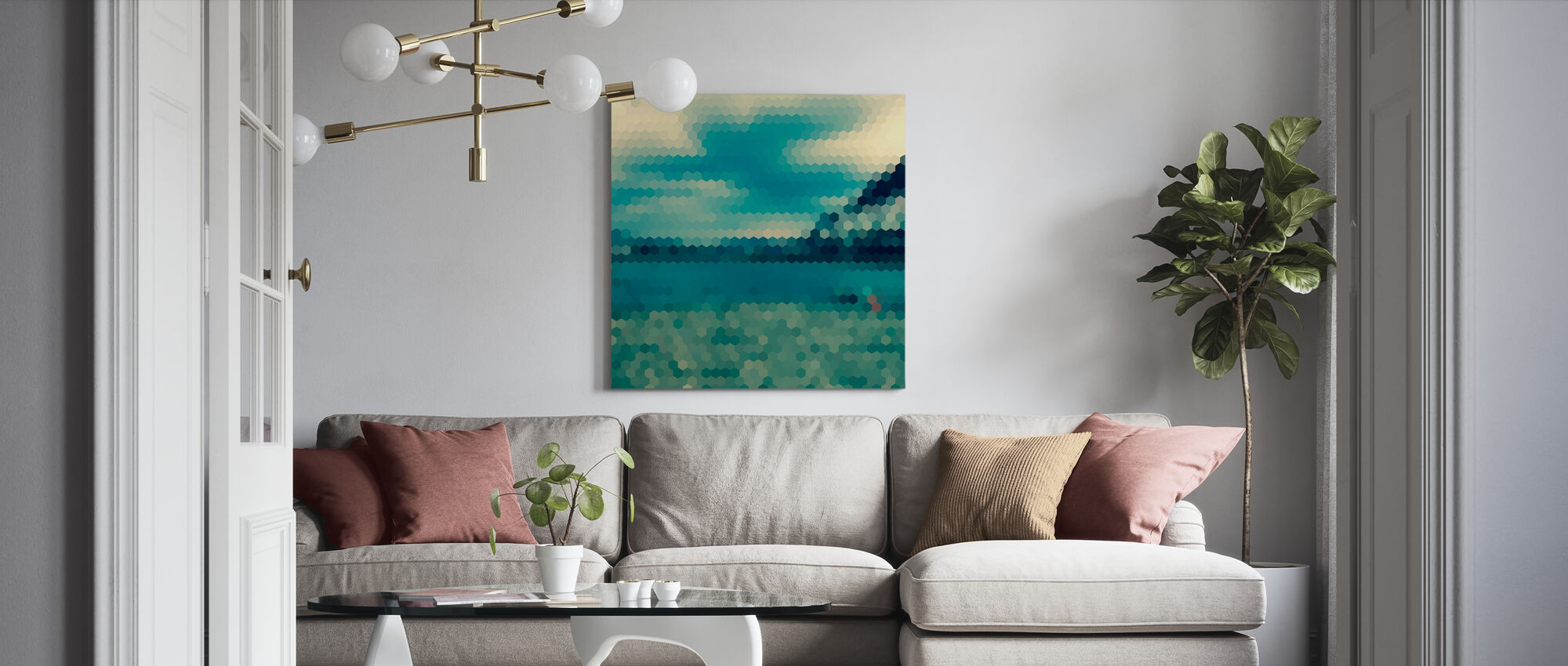 Hexagon Landscape Pattern - Canvas print - Living Room