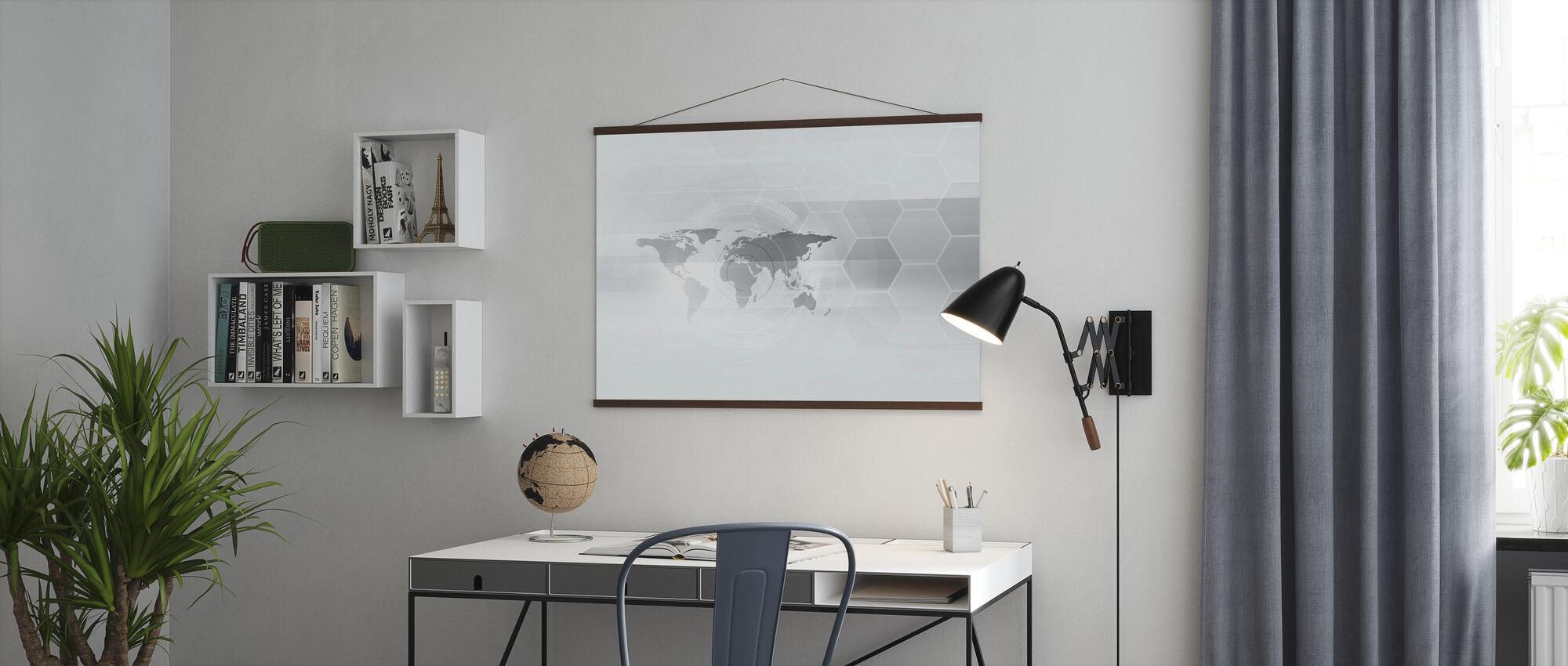 Hexagon World Map - Poster - Office