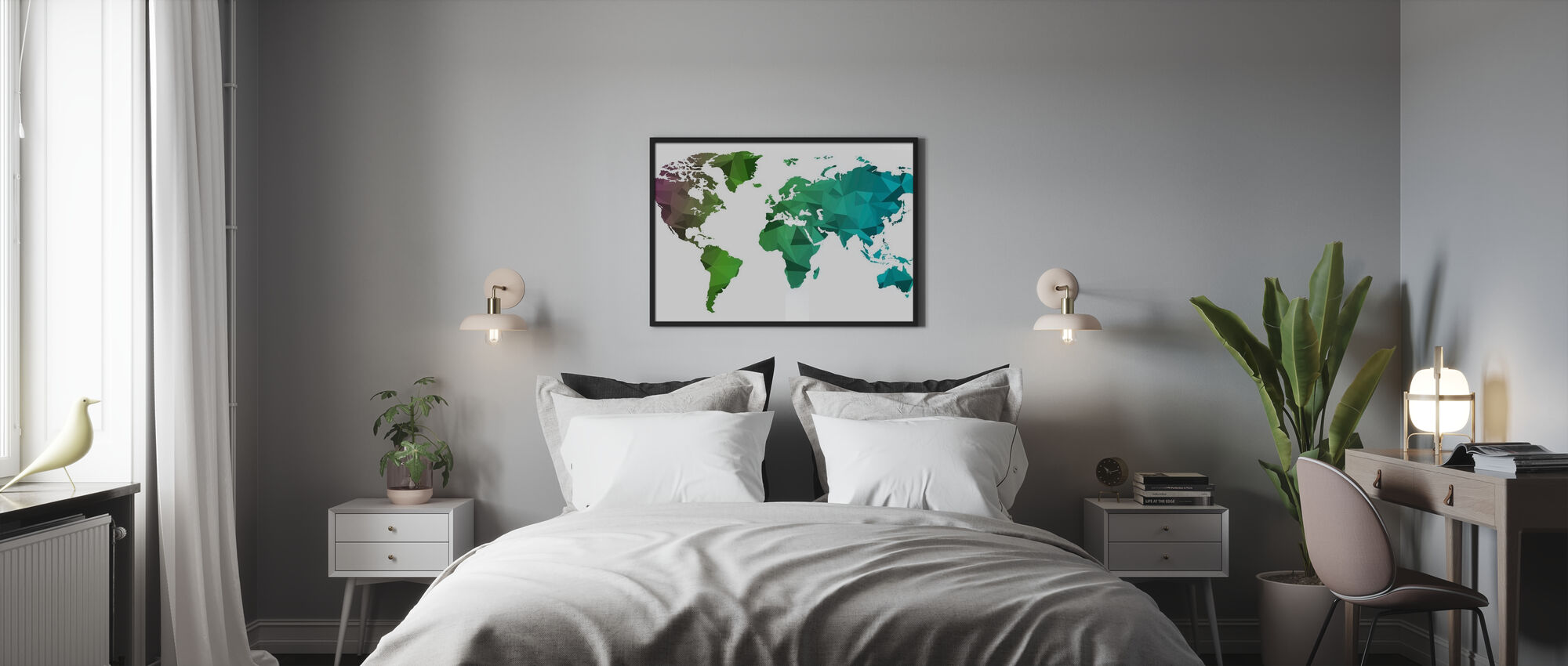 Polygonal World Map - Poster - Bedroom