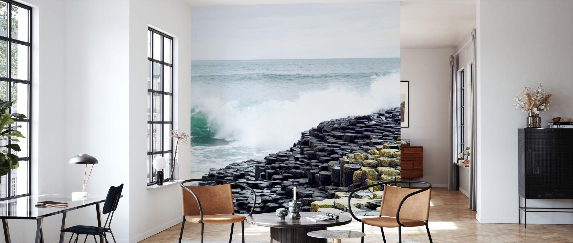 Waves Crashing in Giants Causeway - Wallpaper - Living Room