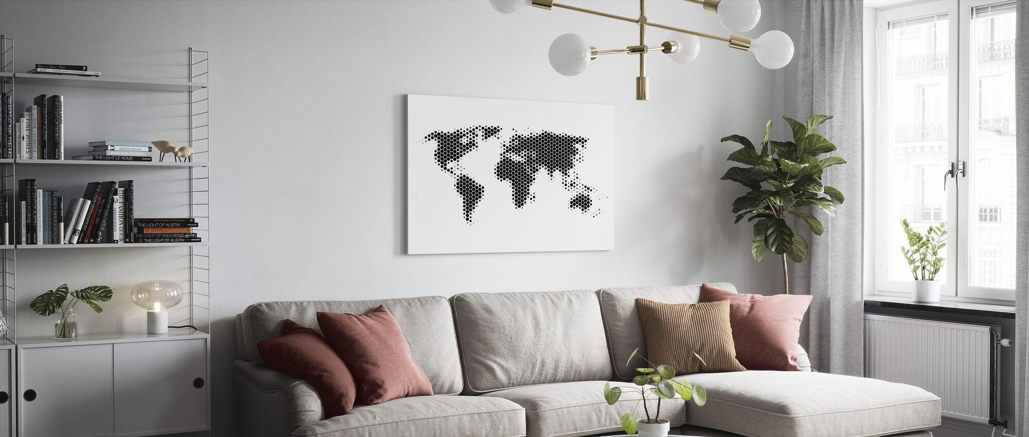 Världskarta metallplåt - Svart - Canvastavla - Vardagsrum