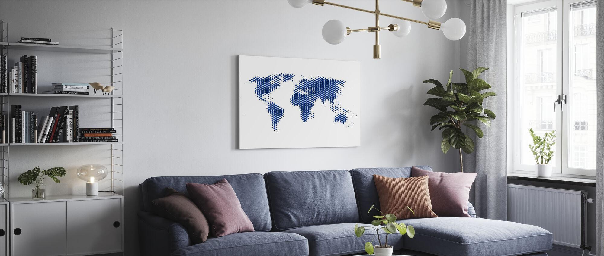 Världskarta Metallplåt - Blå - Canvastavla - Vardagsrum