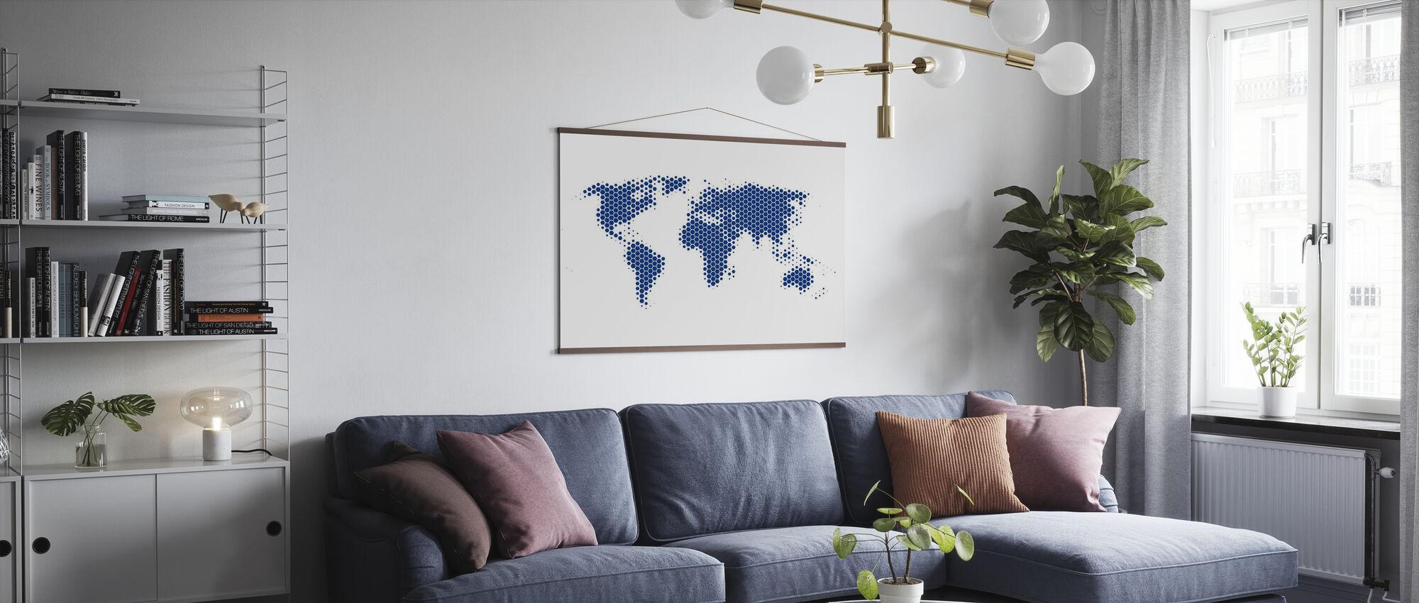 World Map Metal Sheet - Blue - Poster - Living Room