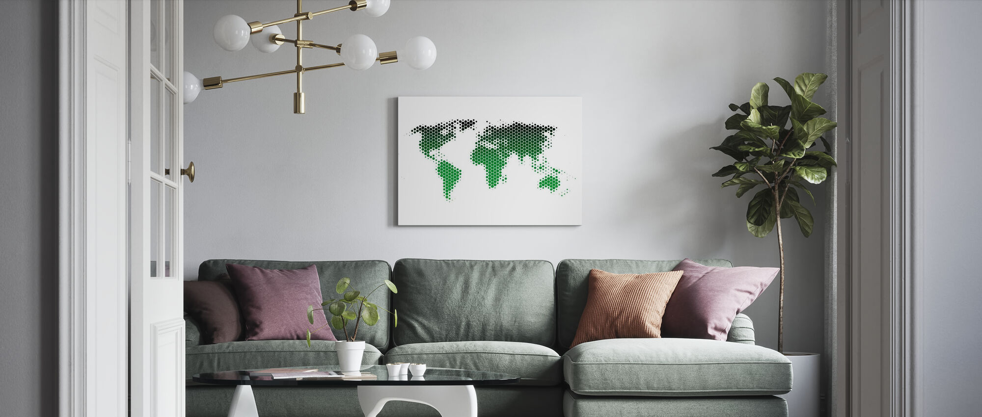 Världskarta Metallplåt - Grön - Canvastavla - Vardagsrum