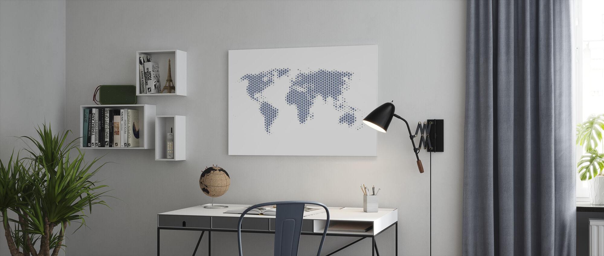 Verdenskort Metalplader - Stål - Billede på lærred - Kontor