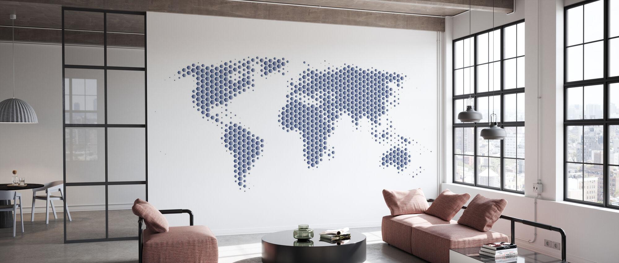 Weltkarte Metallblech - Stahl - Tapete - Büro