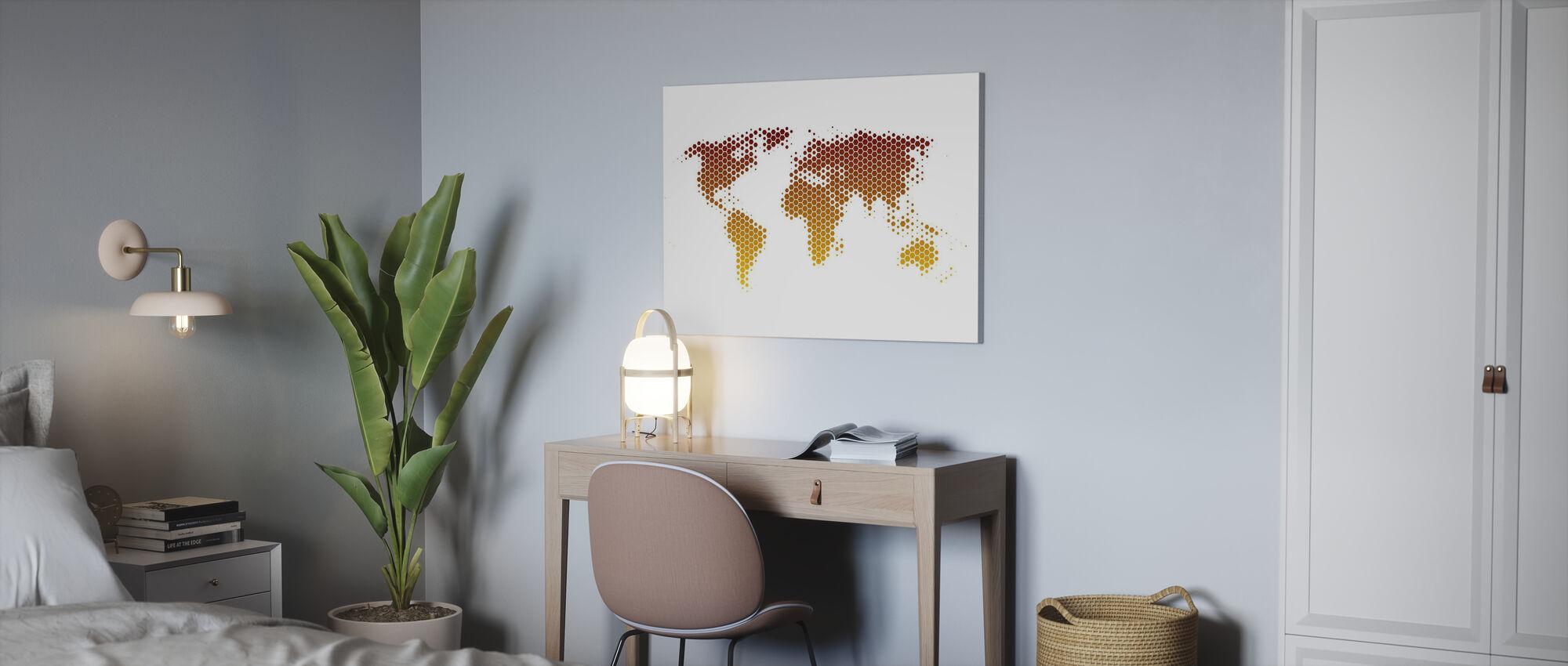 Världskarta metallplåt - Canvastavla - Kontor