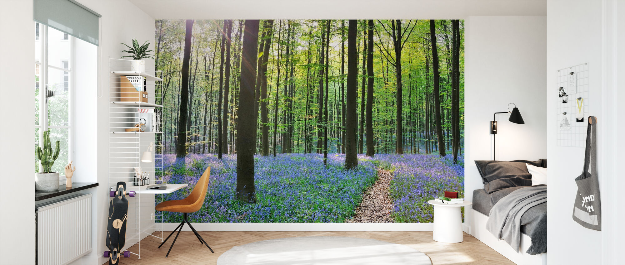 Path through Bluebells Forest - Wallpaper - Kids Room