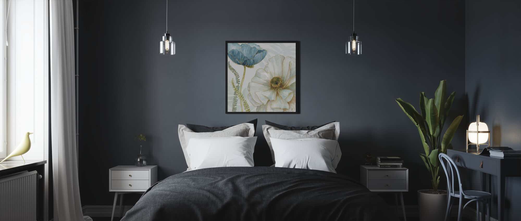White Poppy - Framed print - Bedroom